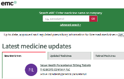 example of the electronic medicinescompendium homepage